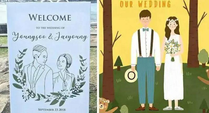 8个高颜值婚礼迎宾牌创意  第17张