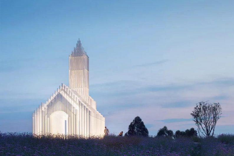 婚礼堂发布:建在薰衣草花田里的无影教堂  第10张