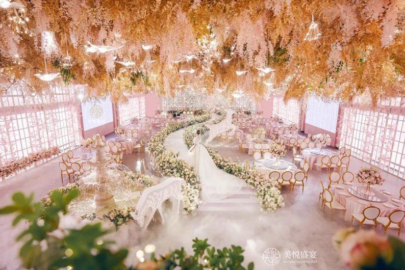 婚礼堂发布:粉色浪漫花园!广州美悦盛宴「卡萨布兰卡厅」  第4张