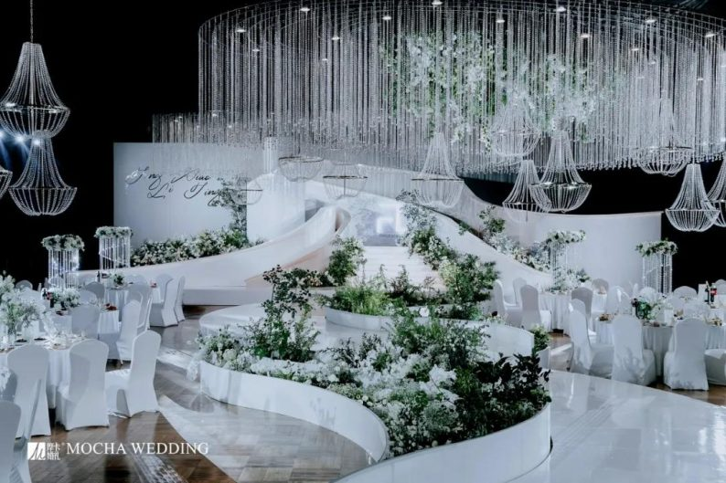 摩卡:格调担当!白绿色简约北欧风婚礼  第1张