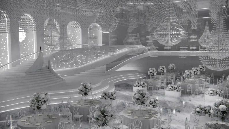 婚礼堂发布:极简风!扬州花世界富玛宴会大厅